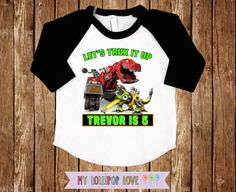 4a8097537 Dinotrux shirt - Birthday Dinotrux shirt for boys with name and age -  Baseball shirt