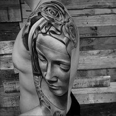 Lil B Tattoo, Statue, Portrait, Tattoos, Art, Art Background, Tatuajes, Men Portrait, Tattoo