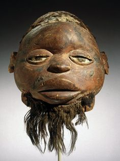 The Lipiko Masks are used by the Makonde at boys' and girls' initiation ceremonies to represent spirits, 19th century, Wood, human hair, fiber, pigment, Culture Makonde, Cabo Delgado Province, Mozambique. Brooklyn Museum .