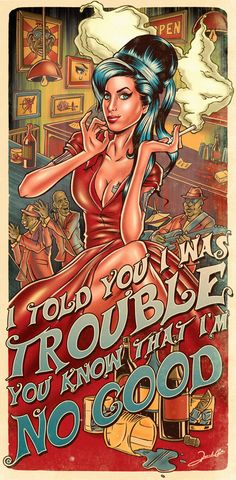 """Renato Cunha é o nome do ilustrador brasileiro criador da série """"Pin-up Posters"""", na qual ilustra personalidades da atualidade em um estilo vintage. Amy Winehouse"""