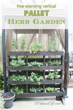Free-Standing Vertical Pallet Herb Garden | 12 Creative DIY Pallet Planter Ideas for Spring | Beautiful Pallet Gardening Crafts, check it out at http://diyready.com/pallet-projects-gardening-supplies/