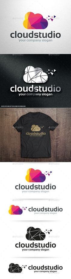 Cloud Studio Logo Template (AI Illustrator, Resizable, CS, agency, app, blog, burst, business, cloud, colorful, company, creative, design, hosting, internet, logo, low poly, network, online, pixel, polygon, shattered, sky, software, studio, template, vector)