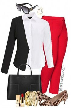 Plus Size Red Pants Work Outfits - Plus Size Work Wear - Plus Size Fashion for Women - # Plus Size Fashion For Women, Womens Fashion For Work, Work Fashion, Fashion Models, Fashion Design, Fashion Trends, Corporate Fashion Plus Size, Cheap Fashion, Ladies Fashion