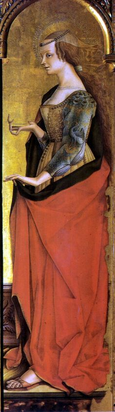 Carlo Crivelli c. 1471: Saint Mary Magdalene . Part of the Triptych of the Polo Museale  (museum complex) of San Francesco in  Montefiore dell'Aso Address: Carlo Crivelli Gallery,Polo Museale ,Piazza S. Francesco 1,  63062 Montefiore dell'Aso,  Ascoli Piceno, Marche, Italy.
