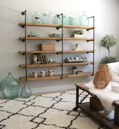 5 solid wood planks & iron pipe wall shelve pipe shelves industrial pipe shelve Stand Storage Unit S Diy Pipe Shelves, Industrial Pipe Shelves, Industrial Interior Design, Pallet Shelves, Industrial Furniture, Glass Shelves, Pipe Shelving, Pipe Furniture, Industrial Farmhouse