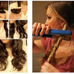 We all love that curly hair look, but it can sure be time consuming. Achieve a messy curl look using just your hair straightener and some hair spray! Curled Hairstyles, Easy Hairstyles, Wedding Hairstyles, Updo Hairstyle, Evening Hairstyles, Ladies Hairstyles, Stylish Hairstyles, Step By Step Hairstyles, Coiffure Hair