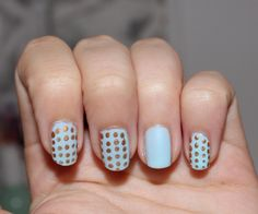 so cute light blue polish with golden dots <3!