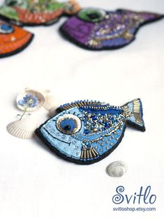 Brooch Fish Golden Blue | Felt Brooch | Beaded Embroided | Pin | Gold | Beads | Textile Jewelry | Fiber Pin | Wearable Art | Beadwork