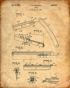 Hey, I found this really awesome Etsy listing at https://www.etsy.com/listing/223097584/patent-print-of-a-straight-razor-patent