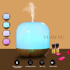 Aromatherapy Air Humidifier 100-240V 12W LED Night Light Ultrasonic Humidifier Aroma Diffuser Mist Maker Cool Air Conditioner