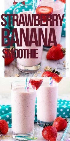 Strawberry Banana Smoothie Less sugar<br> This strawberry banana smoothie is the perfect start to your day. It's loaded with fresh bananas and strawberries and sweetened with a touch of honey! Banana Smoothie Bowl, Smoothie Bowl Vegan, Smoothie Fruit, Strawberry Banana Smoothie, Banana Fruit, Smoothie Detox, Smoothies For Kids, Good Smoothies, Protein Shake Recipes