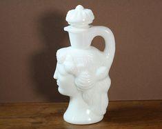 Vintage Avon Milk Glass Grecian Pitcher Woman Perfume Bottle