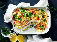 Recreate this restaurant favourite at home with beautiful garlic prawn linguine recipe, complete with marinated seafood tossed through beautifully light pasta.