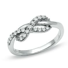 Infinity rings are so beautiful! (0.25 CT. T.W. Diamond Infinity Ring in 10K White Gold from Peoples) - Click image to find more Women's Fashion Pinterest pins