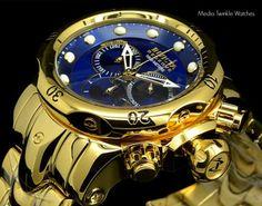 New-Invicta-53mm-Reserve-Venom-High-Polished-All-Gold-Tone-Blue-Dial-Bracelet