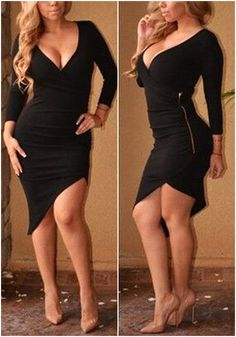 Two image of girl in black asymmetrical wrap-style dress