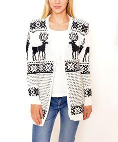 Look at this #zulilyfind! White & Black Reindeer Tie-Front Cardigan by Polkadot #zulilyfinds