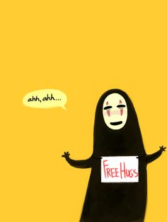 Free Hugs #cute #kawaii #illustration #noface #ghibli #miyazaki #sentochihiro