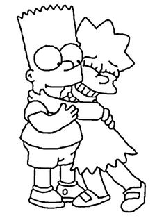 Bart and Lisa coloring page. This beautiful Bart and Lisa coloring page from THE SIMPSONS coloring pages is perfect for kids, who will appreciate it. Family Coloring Pages, Coloring Pages For Grown Ups, Cartoon Coloring Pages, Coloring Pages To Print, Free Coloring Pages, Coloring Books, Printable Coloring, Disney Colouring Pages, Tumblr Coloring Pages