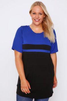 Cobalt Blue & Black Colour Block Short Sleeve T-shirt