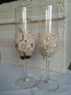 Bride and Groom Champagne Wedding Toasting Flutes, Set of 2 by AVRORAandALORNA on Etsy https://www.etsy.com/listing/227539532/bride-and-groom-champagne-wedding