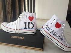 One Direction Shoes Custom Sneakers Inspired Hand Paint Cool Converse, Red Converse, Custom Converse, Custom Sneakers, Converse Sneakers, One Direction Outfits, One Direction Logo, Painted Toms, Painted Canvas Shoes