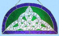 "Celtic Knot Suncatcher Blue & Green Stained Glass Art Design - 9"" x 17"" - $64.95 --- Celtic Designs, Irish Designs, Irish Sun Catchers - Glass Suncatchers, Stained Glass Décor, Stained Glass Sun Catchers -  Stained Glass Design - See more stained glass designs at www.AccentonGlass.com"