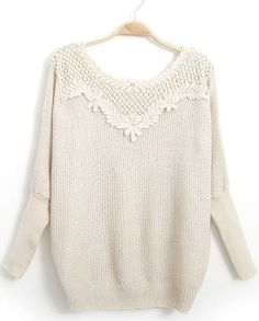 Beige Long Sleeve Embroidered Bead Knit Sweater