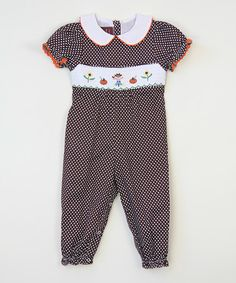 Love this Brown Polka Dot Scarecrow Smocked Playsuit - Infant & Toddler on #zulily! #zulilyfinds