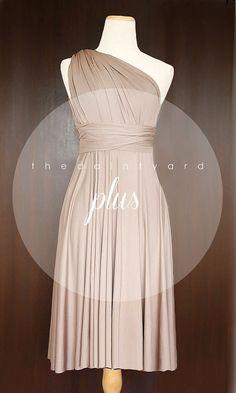 PLUS SIZE Short Straight Hem Light Taupe Bridesmaid Dress Convertible Dress Infinity Dress Multiway Dress Twist Wrap Plus Size Prom Dress