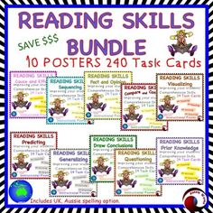 Improve Comprehension with this is a bundle of all Reading Skills Posters and Task Cards.Each set has an instructional poster explaining the concepts plus 24 Task Cards and a record sheetImprove your students' comprehension skills by encouraging them to think as they read.There is an option of US or English Spelling.