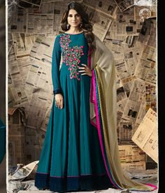 Women magnificence is magnified tenfold in such a jennifer winget blue georgette resham work floor length anarkali dress. The lovely embroidered and resham work a substantial attribute of this attire. Comes with matching bottom and dupatta. Anarkali Dress, Anarkali Suits, Long Anarkali, Indian Dresses, Indian Outfits, Buy Dress, Dress Skirt, Floor Length Anarkali, Silk Suit