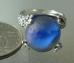 HL Sea Glass & Beach Glass Jewelry, sterling silver cobalt blue cateye marble ring.