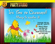 Cute custom birthday invitations for kids!!!  Personalized WINNIE THE POOH Birthday Party Invites (4x6 or 5x7 Printable Invitations)