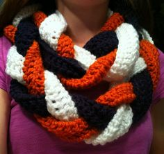 Football Braided Infinity Scarves by CallitCrafty on Etsy @Cecilia Börjesson Börjesson Börjesson Carrigan, @Sally McWilliam McWilliam McWilliam Wells