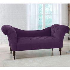 Savannah Aubergine Tufted Velvet Chaise Lounge