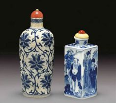 Two Blue and White Porcelain Snuff Bottles