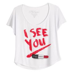 Pretty Little Liars I See You Tee ($9.99) ❤ liked on Polyvore featuring tops, t-shirts, shirts, blusas, graphic tees, white tee, t shirts, graphic design tees, white top and white shirt