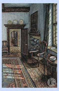 Howard Phipps - Morning Sunlight, Whittington Court. Wood engraving.