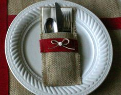 Holiday silverware wraps, Burlap silverware holders, country Christmas, shabby chic table decor