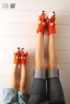 The Big Bad Fox - Crochet Fox Socks #foxsocks #fox pickyourplum.com
