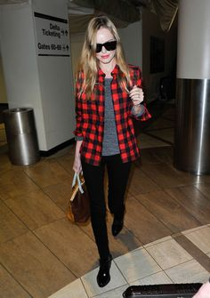Kate Bosworth at Los Angeles International airport, wearing black pants, low boots and a checked red and black button-up. via @stylelist | http://aol.it/YpYtqr