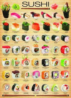 "I chose Eurographics amo ""sushi"" cartaz, Poster to represent Triadic Colors. Since Sushi is one of my favorite artistic treats. Healthy Snacks, Healthy Recipes, Healthy Sushi, Vegan Sushi, Cheap Recipes, Dinner Healthy, Cuisine Diverse, Food Platters, Asian Recipes"