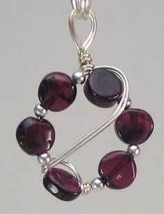 Garnet, silver beads and wire necklace