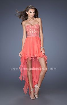 Hot Coral Strapless Sweeheart High Low Prom Dress by La Femme 19607