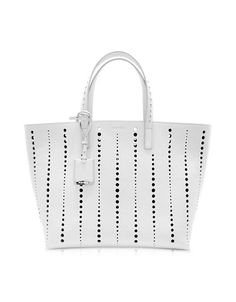 4369b9c269c1 Jil Sander Large Ibiza Open White Perforated Leather Tote-  1