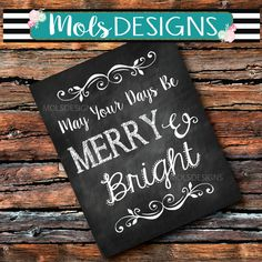 INSTANT Download MERRY and BRIGHT Christmas Baby Most Wonderful Holiday Sign Vintage Chalkboard Printable Wedding Family Photo Prop Decor