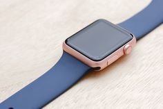 Apple Watch Sport Rose Gold Case with Midnight Blue Sport Band.