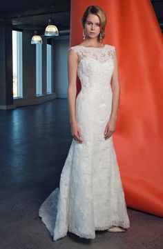 c25340a3b503 Bateau A-Line Wedding Dress with No Waist Princess Seams in Lace. Bridal