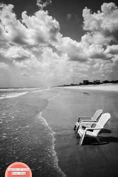 A digital download of a black and white fine art photograph taken on the beach in St. Augustine, Florida in the summer. Two beach chairs sitting along the shore with a big white clouds in the sky. Ocean photography printable. Wall art home decor. Title: Two Chairs Along Shore (B&W) (Digital Download)  This is a Digital Download. It is a Printable item. You will receive digital files to print your own image. No print or frame will be shipped to you. This is a simple, cost-effective way to…